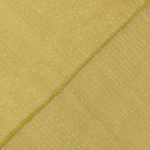 Royal Yellow Muthuseer Line Kanchi Silk Fabric