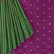 Bottle Green Striped Kanchi Silk Saree With Bottle Green Kanchi Silk Pallu and Blouse