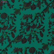 Turquoise Blue Floral Printed Kanchi Silk Fabric