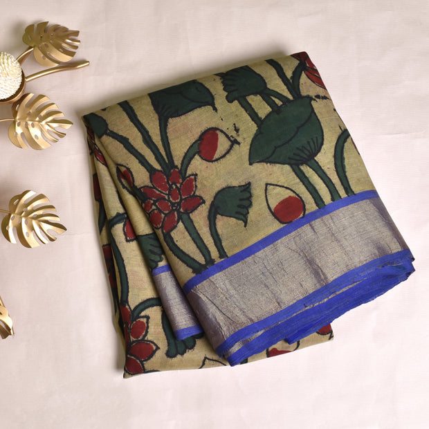 Olive Green Organza Kanchi Silk Saree With Blouse