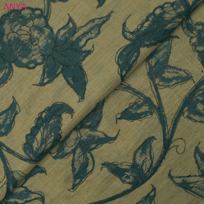 Light Gold Pen Kalamkari Fabric
