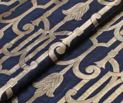 Indigo Blue Banarasi Silk Fabric With Zari Designs