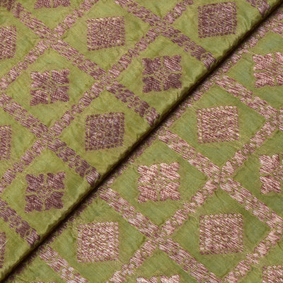Apple Green Antique Zari Kattam And Butta Banarasi Silk Fabric