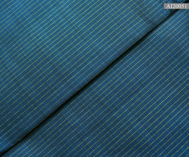 Peacock Blue Muthu Seer Line Kanchi Silk Fabric