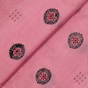 Pink Tussar Fabric With Black And Red Thread Zari Butta Design