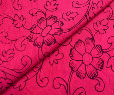 Rose Kanchi Silk Fabric With Floral Pen Kalamkari Print Design