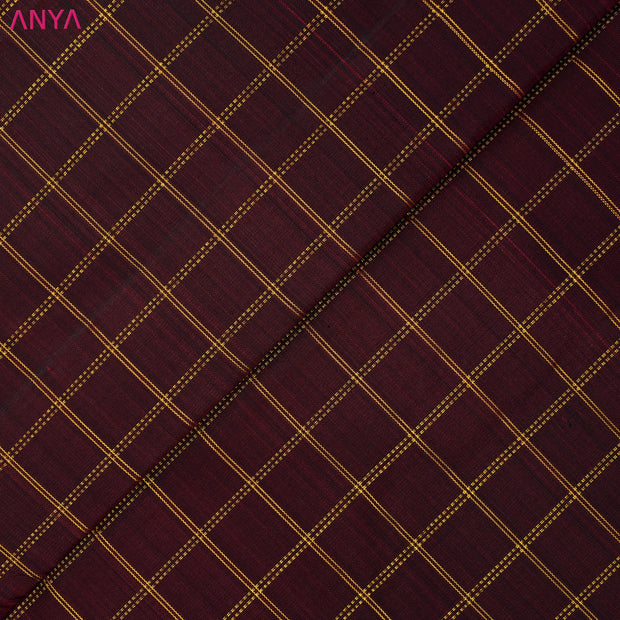 Maroon Checked Kanchi Silk Fabric