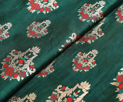 Bottle Green Banarasi Silk Fabric With Red And Silver Zari Floral Design
