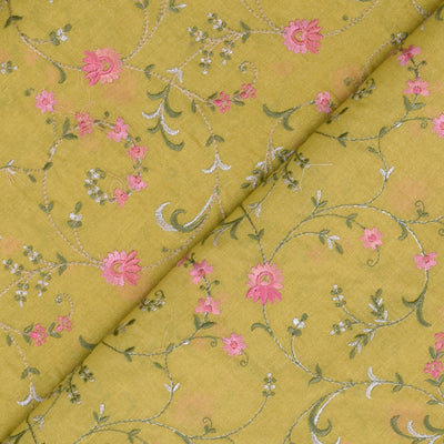Lemon Yellow  Multi Thread Floral Embroidery Tussar Fabric