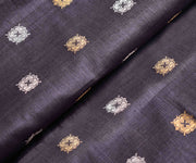Pewter Grey Tussar Fabric With Gold And Silver Zari Butta Highlights