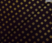Black Kanchi Silk Fabric With Gold Sun Button Design Highlights