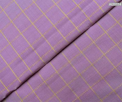 Lavender Kanchi Silk Fabric With Zari Kattam Design