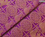 Purple Checked Annapakshi Mayilchakram Kanchi Silk Fabric