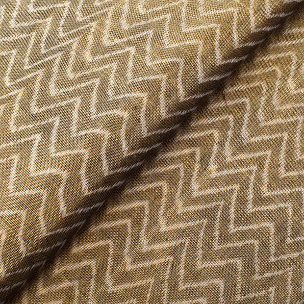 Gold Zigzag Ikkath Tissue Fabric