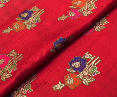 Lava Red Banarasi Silk Fabric With Multi Zari Highlights