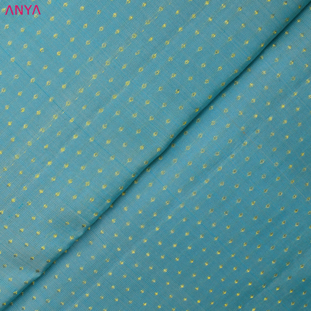 Dual Tone Blue And Half White Kanchi Silk Fabric With Kuligai Button Design