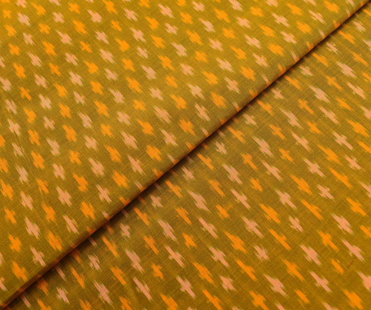 Double Shaded Mustard Ikkath Silk Fabric