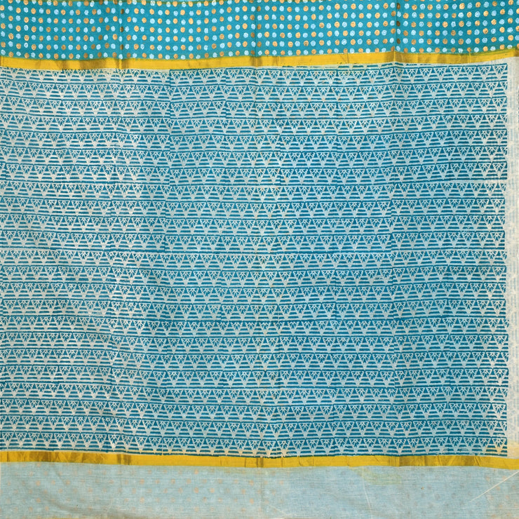White Printed Bengal Cotton Saree With Gold Printed Border And Blue Printed Blouse