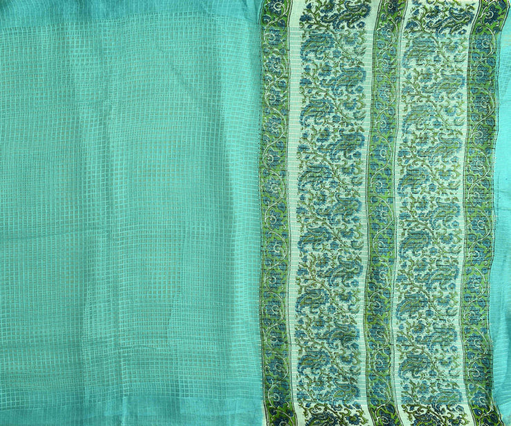 Self Checked Organza Sky Blue Saree With Floral Inskirt Cotton Saree And  Blouse