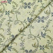 Apple Green Embroidered Tussar Raw Silk Fabric