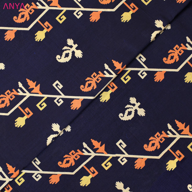 Navy Blue Printed Kanchi Silk Fabric