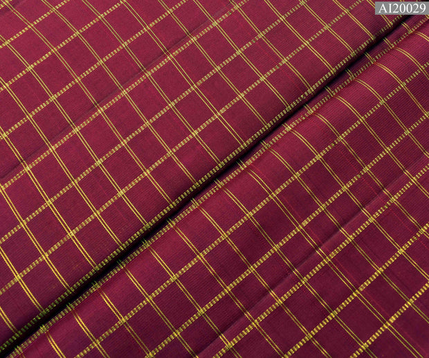 Magenta Kanchi Silk Fabric With Zari Kattam Design