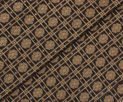Black Banarasi Silk Fabric with Flower Butta