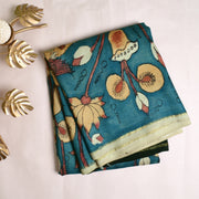 Blue Pen Kalamkari Kanchi Silk Saree With Blouse