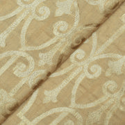 Half White  Gold Zari Banarasi Silk Fabric
