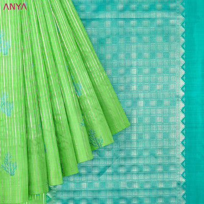 Parrot Green Soft Silk Saree