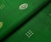 Forest Green Tussar Fabric With Silver And Gold Zari Butta Highlights
