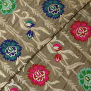 Ash Mutli Zari And Thread Floral Banarasi Silk Fabric