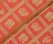 Orange Banarasi Silk Fabric with Animal Butta