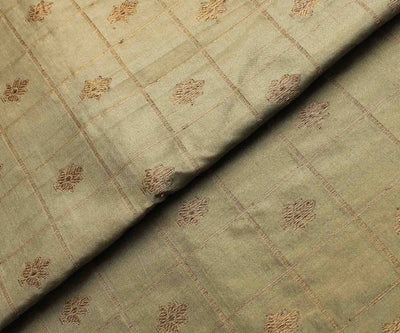 Light Olive Green Checked Antique Banarasi Silk Fabric With Pink Small Border