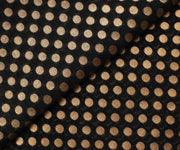 Black Semi Banarasi Silk Fabric With Gold Zari Butta Highlights