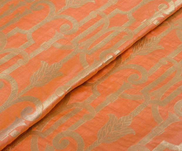 Peach Banarasi Silk Fabric With Zari Designs
