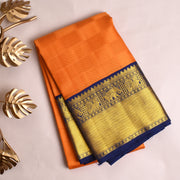 Orange Kanchi Silk Saree With Indigo Blue Blouse
