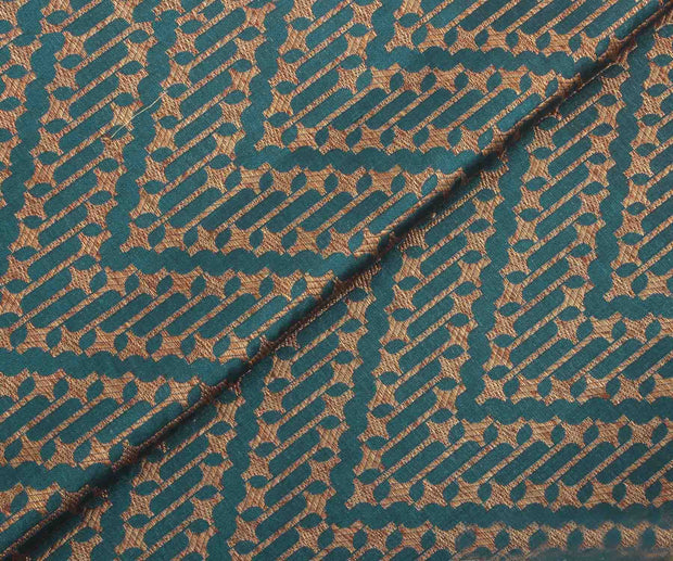 Peacock Blue Banarasi Silk Fabric with Wave Design