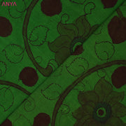 Green Pen Kalamkari Fabric