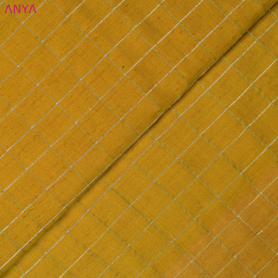 Mustard Checked Tussar Silk Fabric