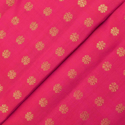Rose Kanchi Silk Fabric With Butta