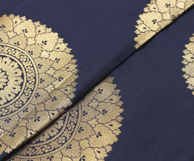 Indigo Blue  Banarasi Silk Fabric With Zari Highlights