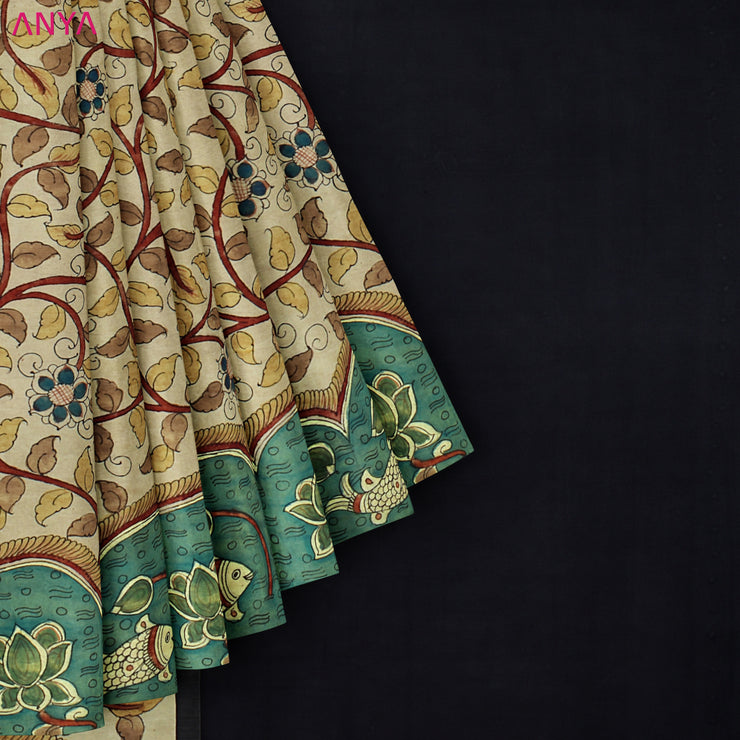 Half White Pen Kalamkari Saree With Black Pallu And Blouse