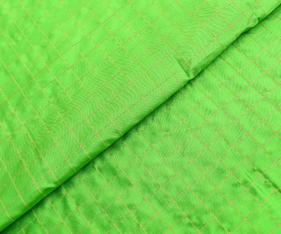 Parrot Green Checked Soft Silk Fabric