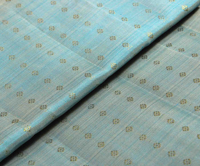 Baby Blue Kanchi Silk Fabric With Zari Buttas