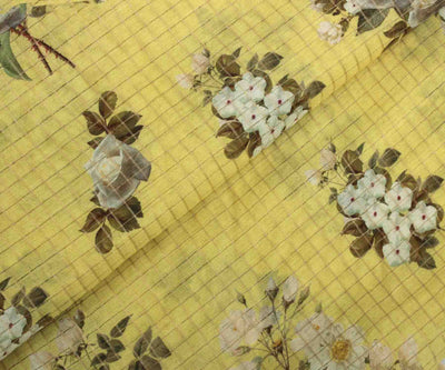 Yellow Floral Tussar Fabric