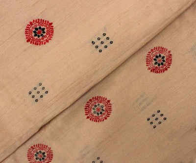 Natural Color Tussar Fabric with Red Woven Buttas