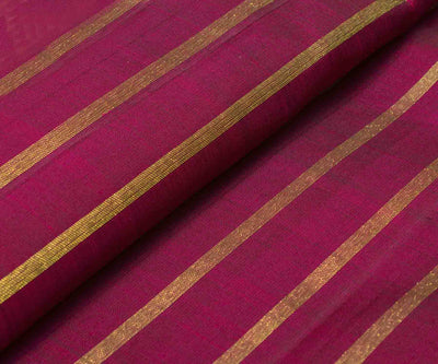Magenta Kanchi Silk Fabric With Stripes Zari Design