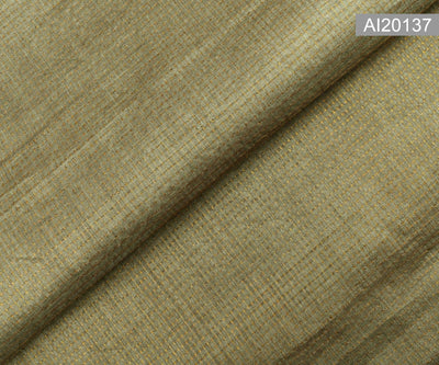 Ash with Gold Checks Tussar Fabric