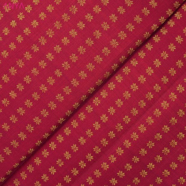 Red Floral Butta Kanchi Silk Fabric